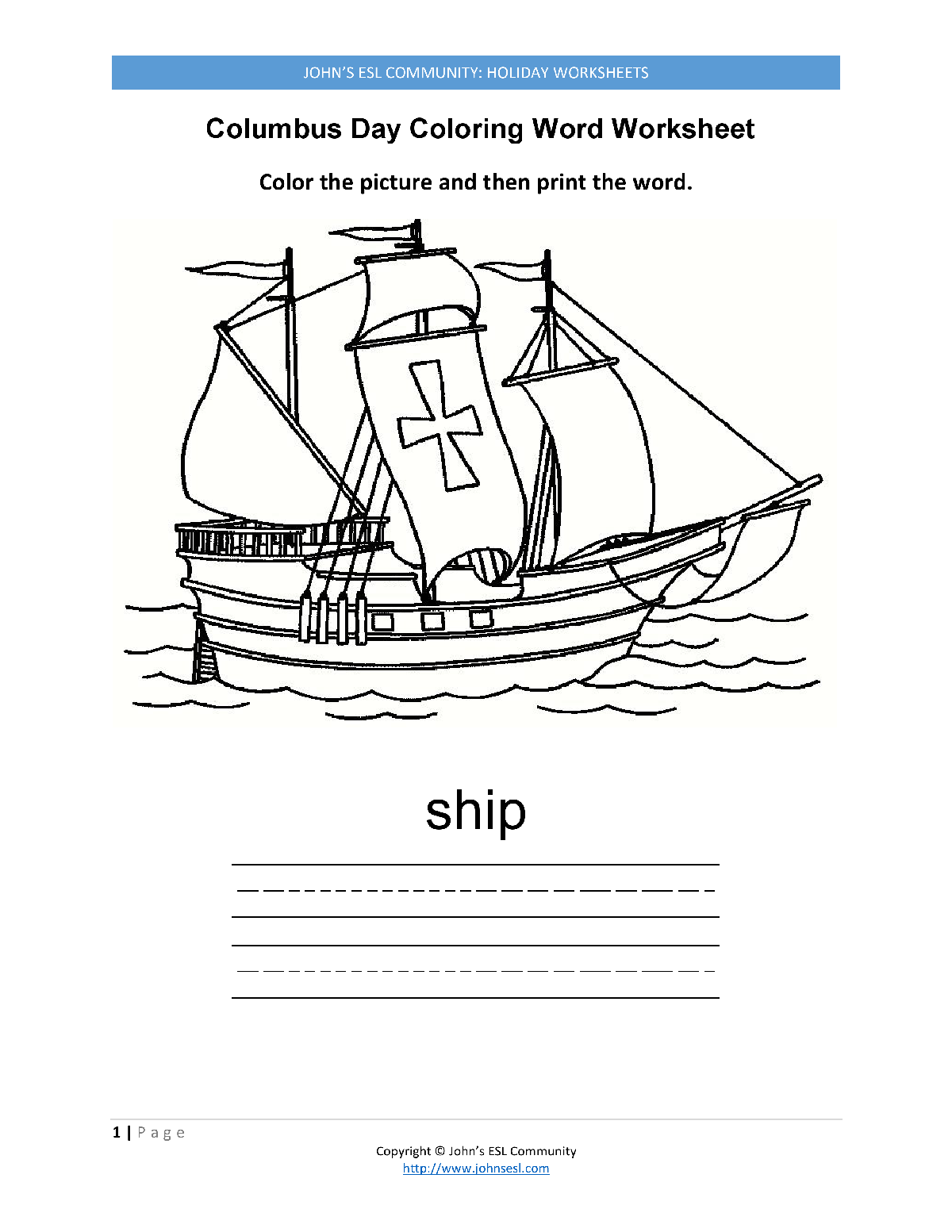 Worksheets Columbus Day Worksheets johns esl communityholidayscolumbus day