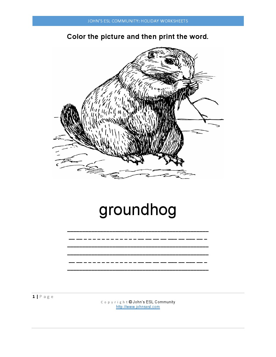 Groundhog day worksheets elementary
