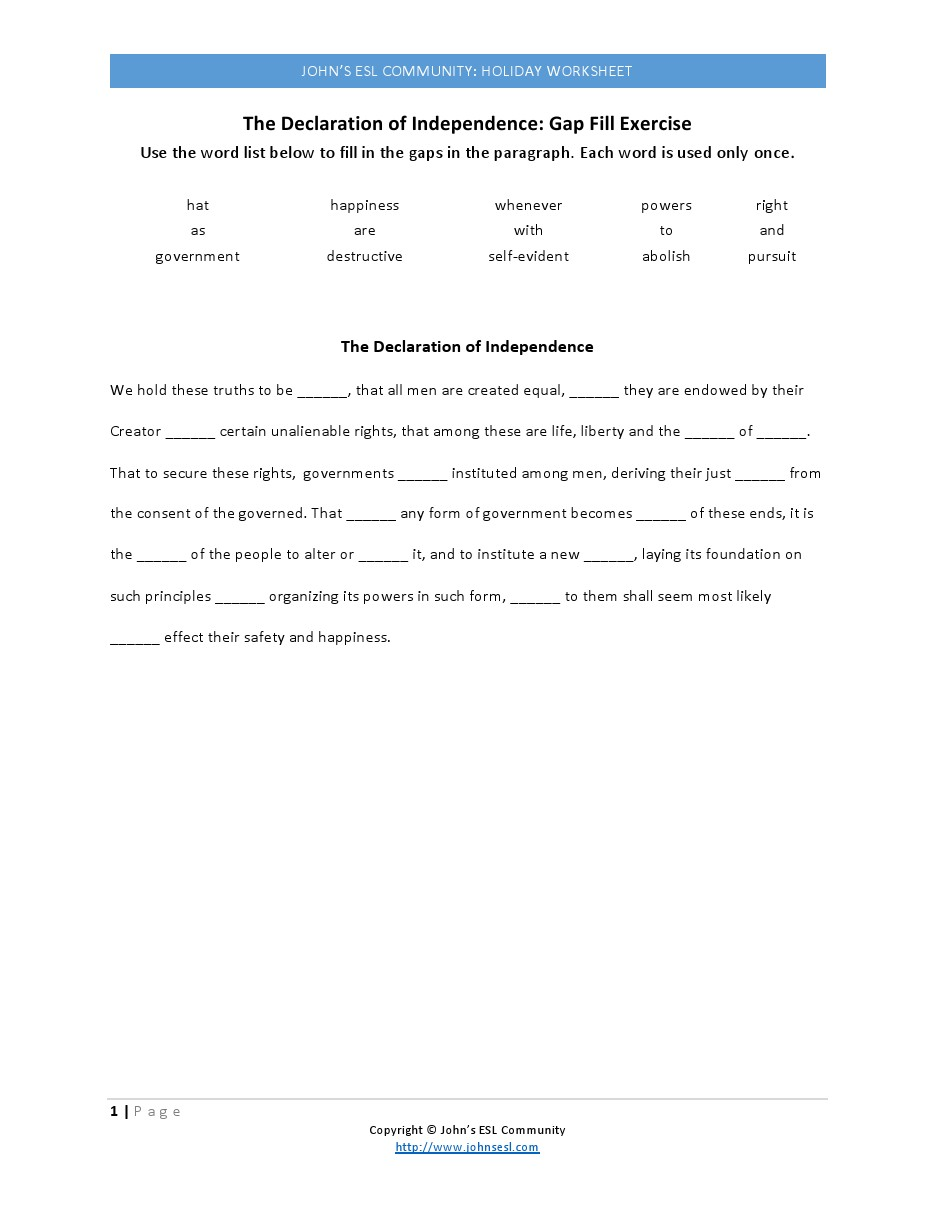 Uncategorized Declaration Of Independence Worksheet declaration of independence worksheets for education free worksheet phinixi com