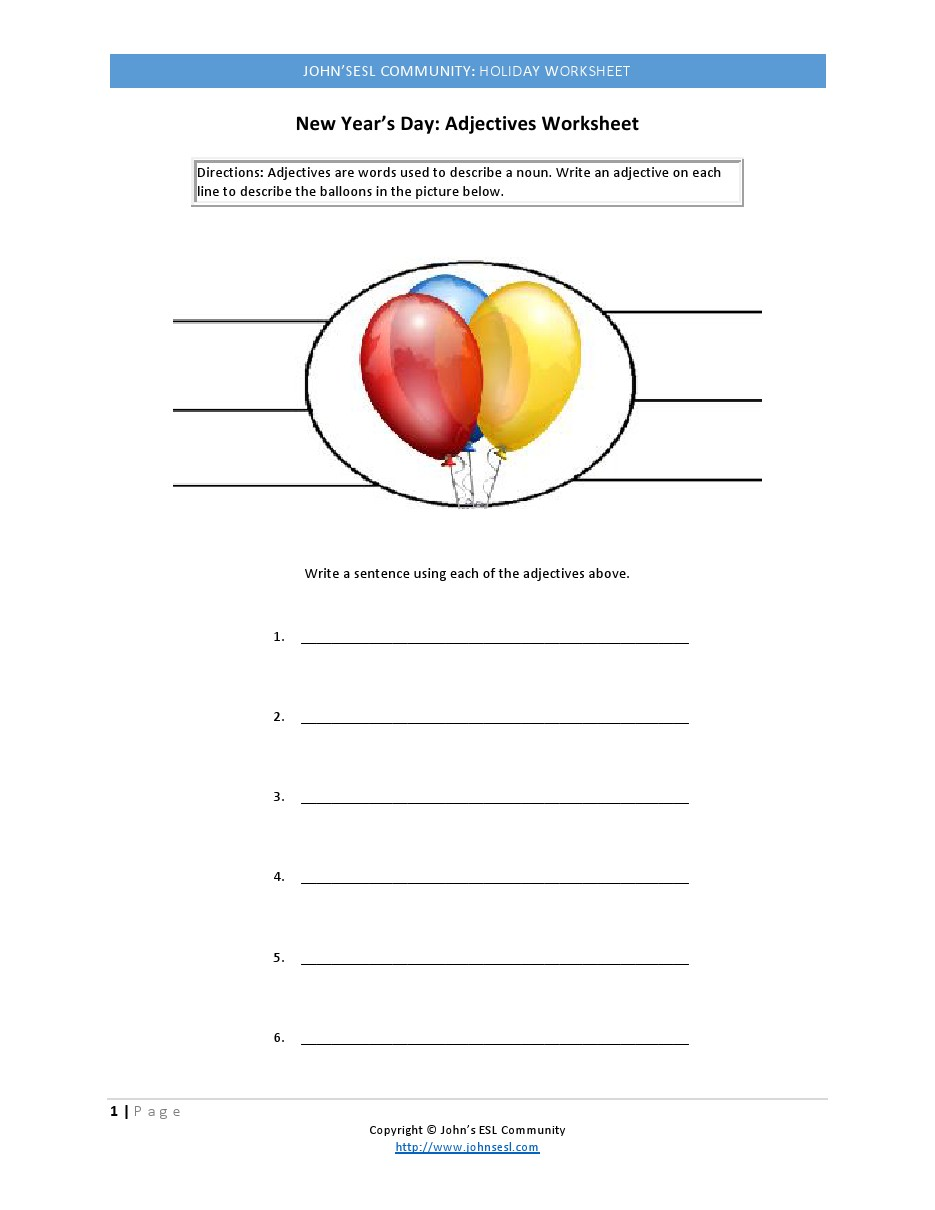 photo about New Year's Worksheets Printable referred to as Johns ESL Local:Holiday seasons:Clean Several years Working day